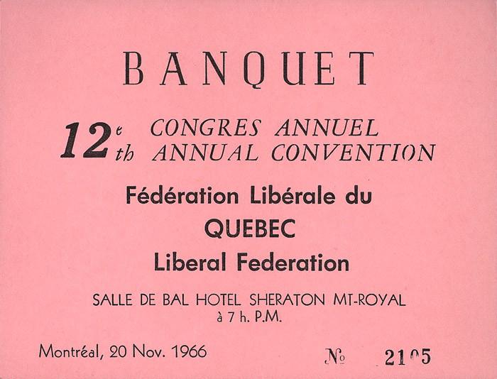 12e congrès annuel de la Fédération libérale du Québec, 18-20 novembre 1966