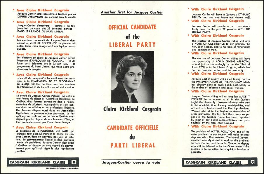Publicité électorale de Marie-Claire Kirkland-Casgrain, 1960.