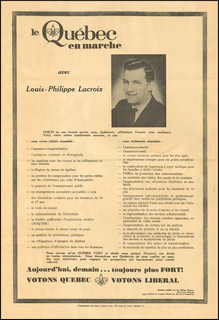 Affiche électorale de Louis-Philippe Lacroix, 1966.