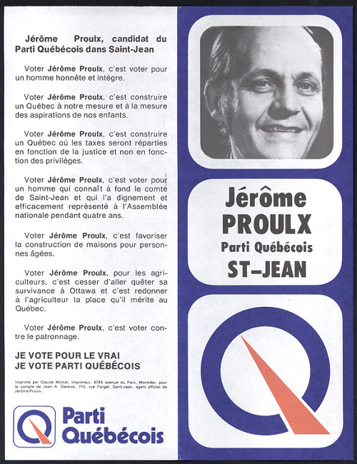 Dépliant électoral de Jérôme Proulx, candidat dans Saint-Jean, 1973.