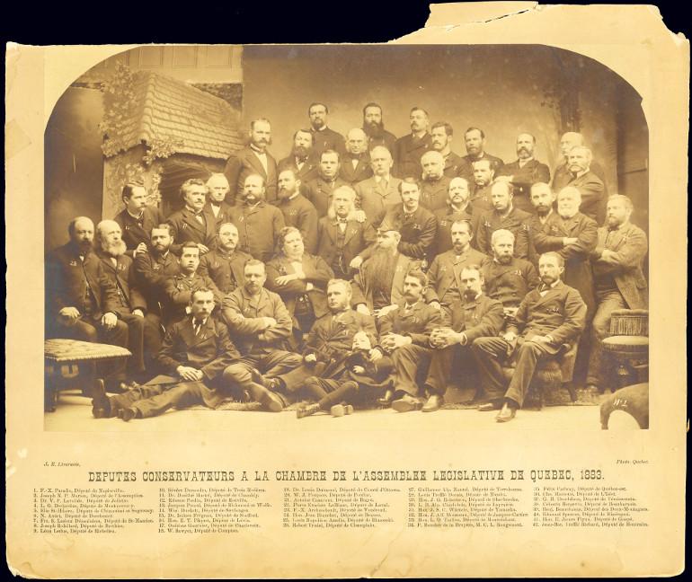 Députés conservateurs à la chambre de l'Assemblée législative de Québec, 1883.