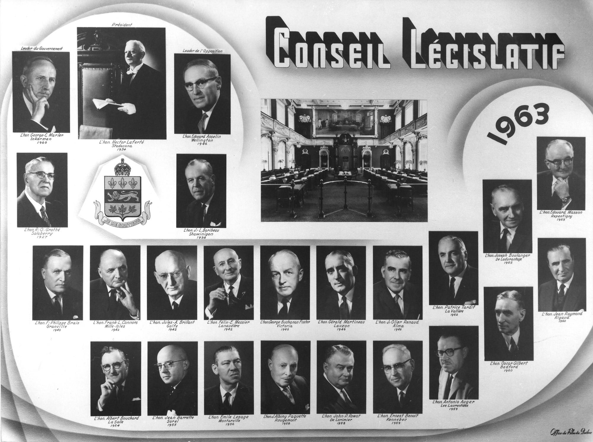 Mosaïque des conseillers législatifs de 1963.
